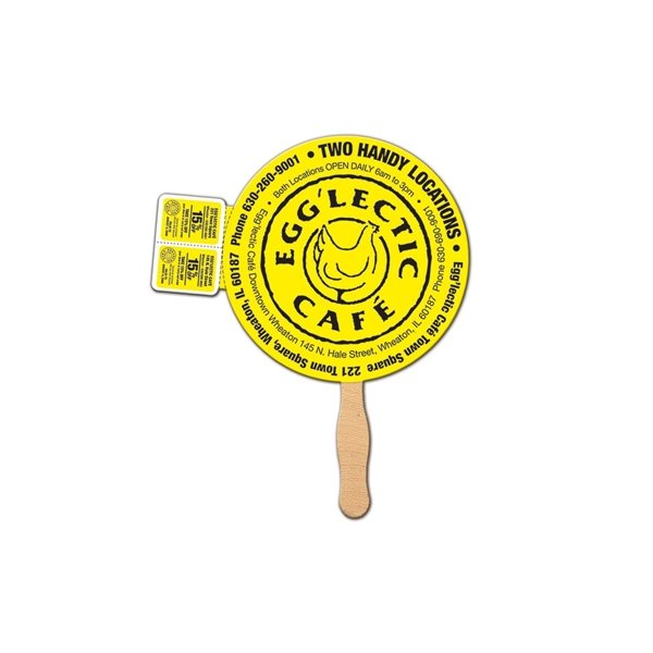 Promotional Round Coupon Fan - Paper Products