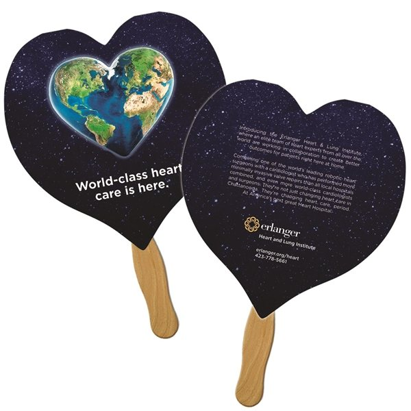 Promotional Heart Sandwiched Fan Digitally Printed - Paper Products