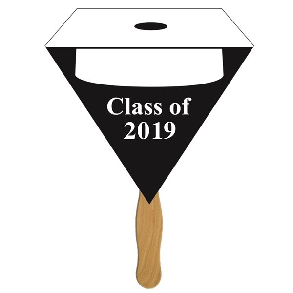 Promotional Triangular Graduate Hand Fan w / White Hat - Paper Products
