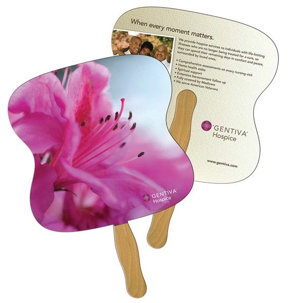 Promotional Hourglass Digital Hand Fan (2 Sides)- Paper Products