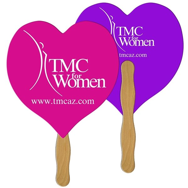 Promotional Heart Digital Hand Fan (2 Sides)- Paper Products