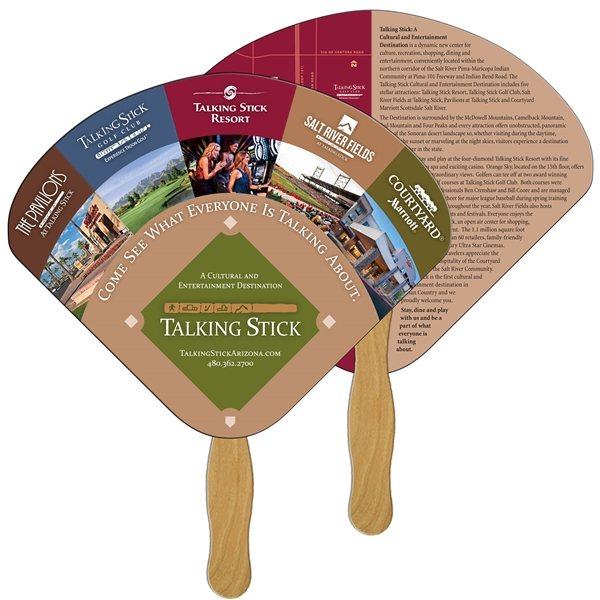 Promotional Seashell Digital Hand Fan (2 Sides)- Paper Products