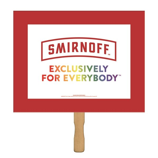 Promotional Horizontal Rectangle Sandwiched Rally Hand Sign - Paper Products