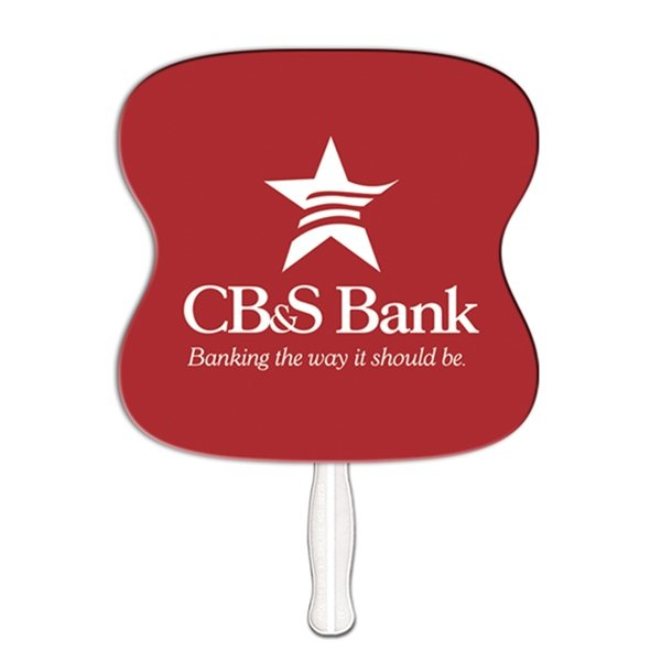 Promotional 9 Inch Hourglass Special Shape Fan - Paper Products