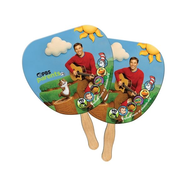 Promotional Palm Leaf Sandwiched Fan - Paper Products