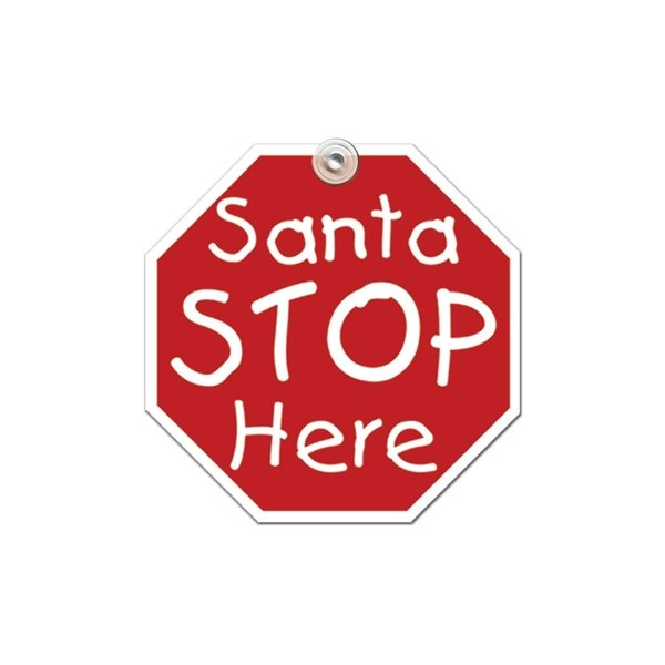 Promotional Santa Stop Window Sign - Paper Products