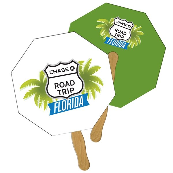 Promotional Stop Sign / Octagon Digital Hand Fan (2 Sides)- Paper Products