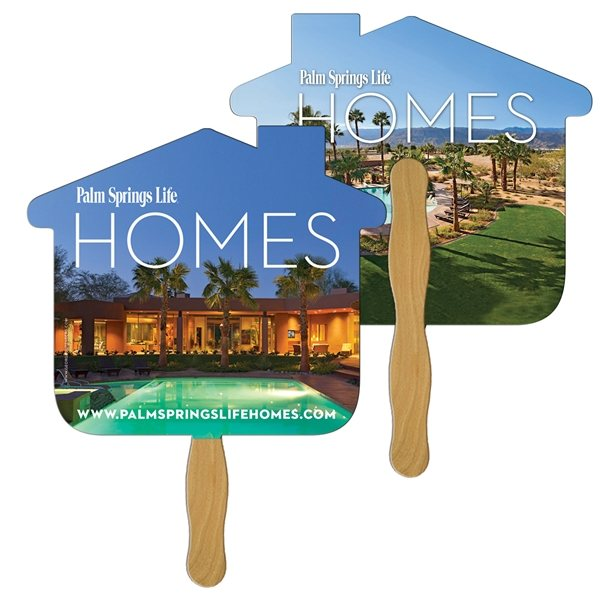 Promotional House Digital Hand Fan (2 Sides)- Paper Products