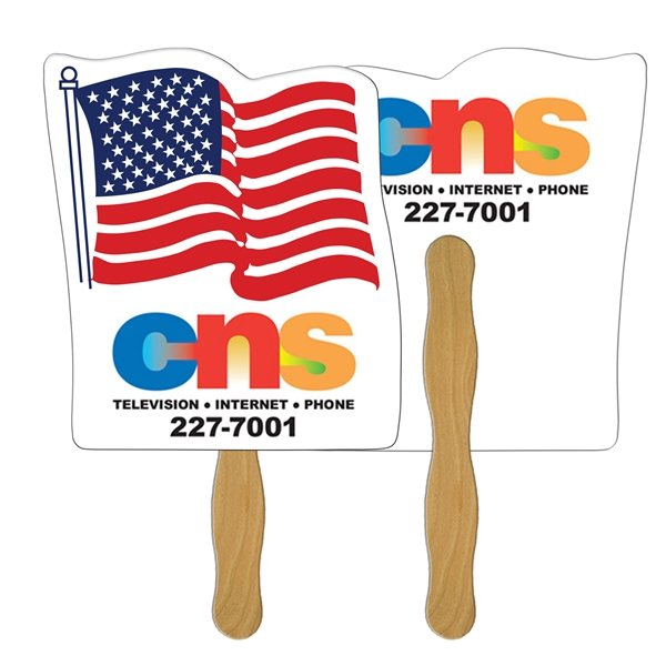 Promotional Flag Digital Hand Fan (2 Sides)- Paper Products