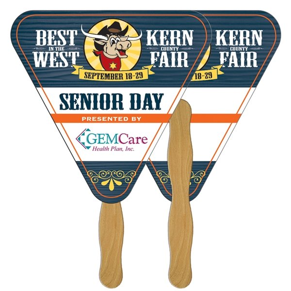 Promotional Triangle Digital Hand Fan (2 Sides)- Paper Products