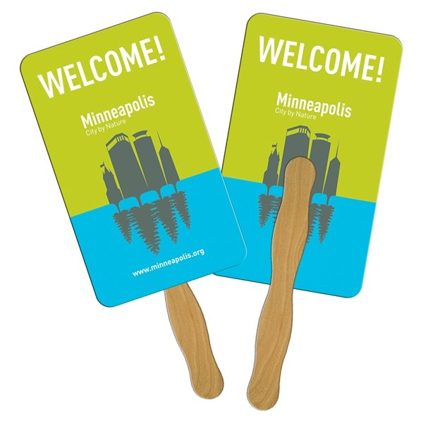 Promotional Rectangle Digital Hand Fan (2 Sides)- Paper Products