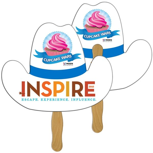 Promotional Cowboy Hat Digital Hand Fan (2 Sides)- Paper Products