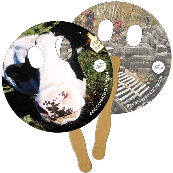 Promotional Circle With Eyes Cut Digital Hand Fan (2 Sides)- Paper Products