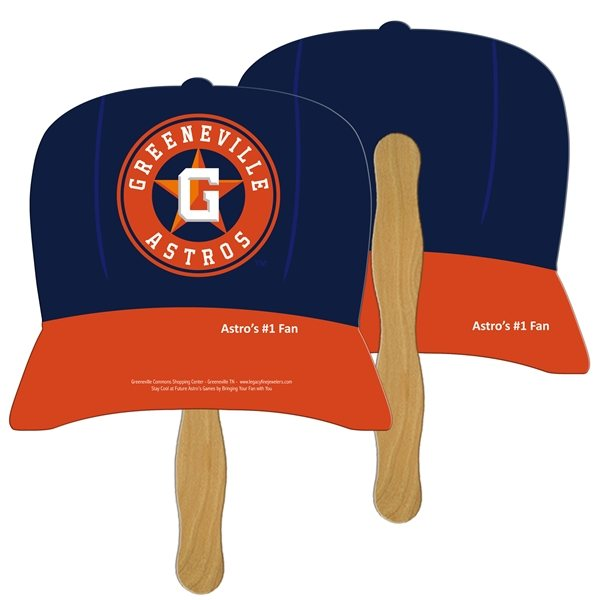 Promotional Baseball Cap Digital Hand Fan (2 Sides)- Paper Products