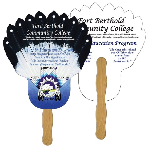 Promotional Feather Digital Hand Fan (2 Sides)- Paper Products