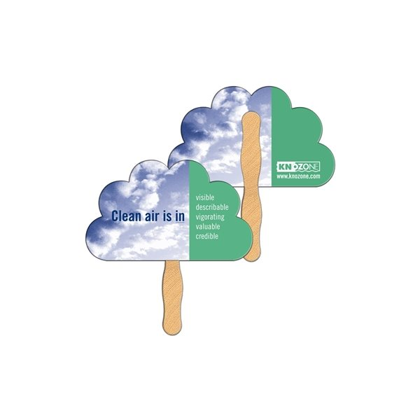 Promotional Peacock / Cloud Digital Hand Fan (2 Sides)- Paper Products