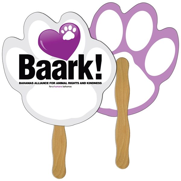 Promotional Paw Print Digital Hand Fan (2 Sides)- Paper Products