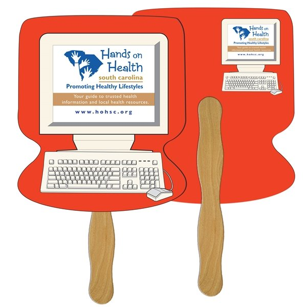Promotional Computer Digital Hand Fan (2 Sides)- Paper Products