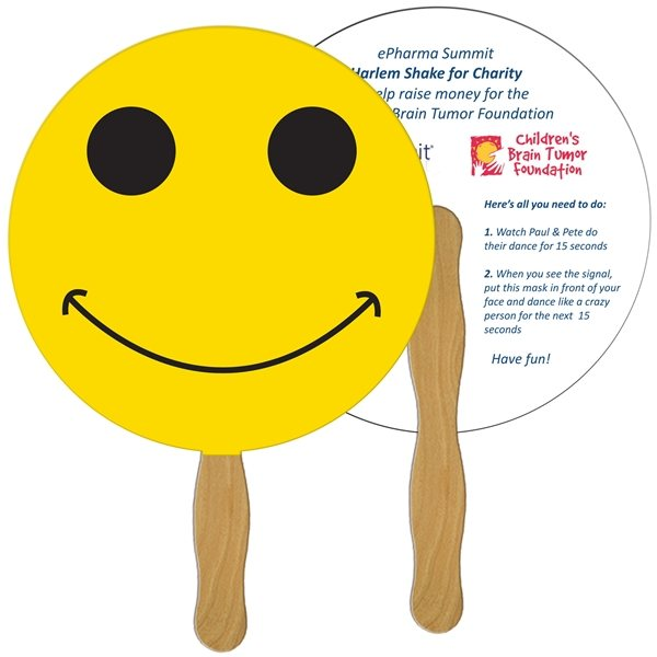 Promotional Smiley Face Digital Hand Fan (2 Sides)- Paper Products
