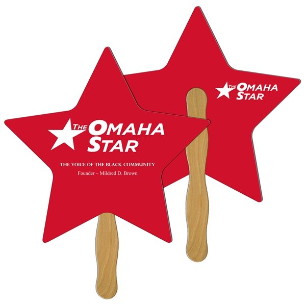 Promotional Star Digital Hand Fan (2 Sides)- Paper Products