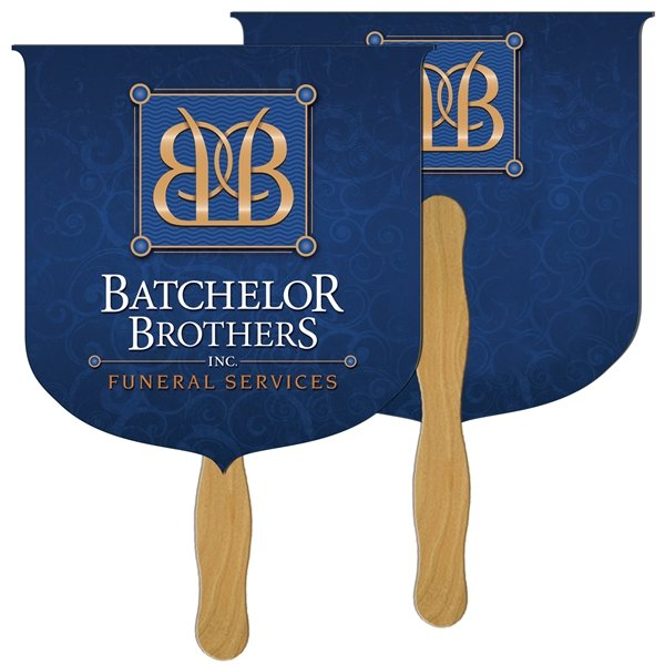 Promotional Coat of Arms Digital Hand Fan (2 Sides)- Paper Products