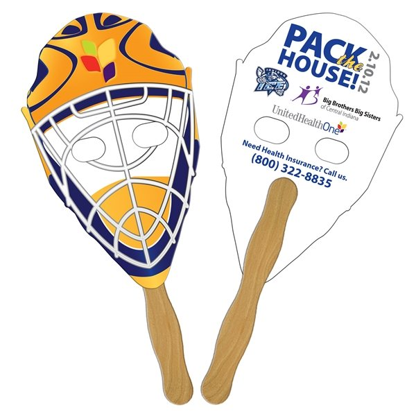 Promotional Hockey Mask Digital Hand Fan (2 Sides)- Paper Products