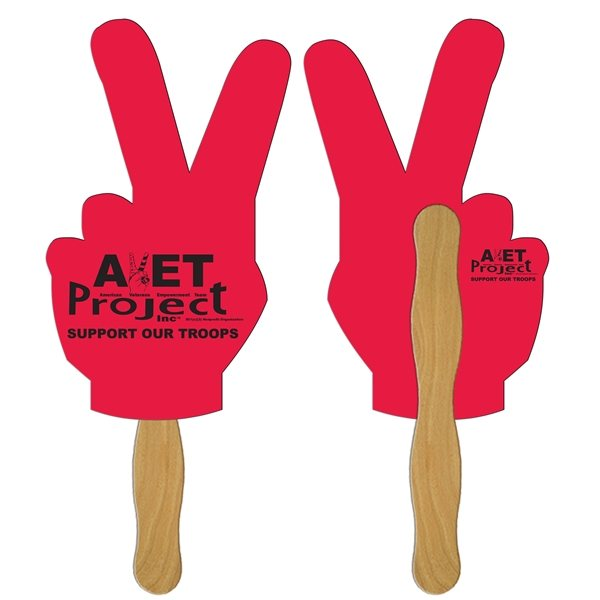 Promotional Peace Sign Digital Hand Fan (2 Sides)- Paper Products