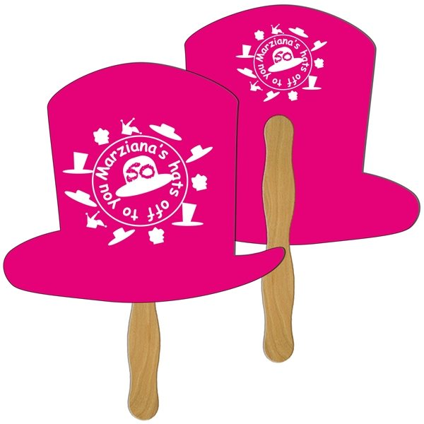 Promotional Top Hat Digital Hand Fan (2 Sides)- Paper Products