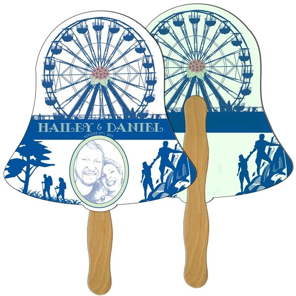 Promotional Bell Digital Hand Fan (2 Sides)- Paper Products
