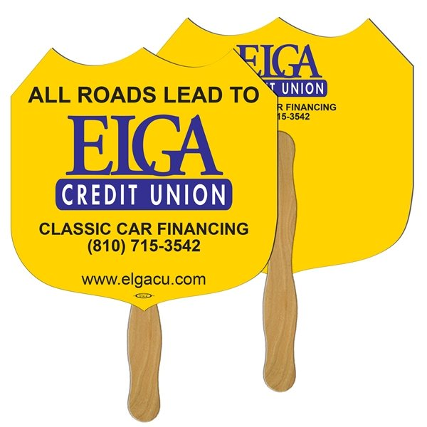 Promotional Interstate Sign Digital Hand Fan (2 Sides)- Paper Products