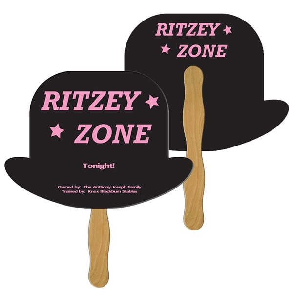 Promotional Derby Hat Digital Hand Fan (2 Sides)- Paper Products