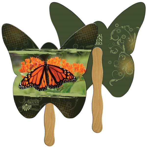 Promotional Butterfly Digital Hand Fan (2 Sides)- Paper Products