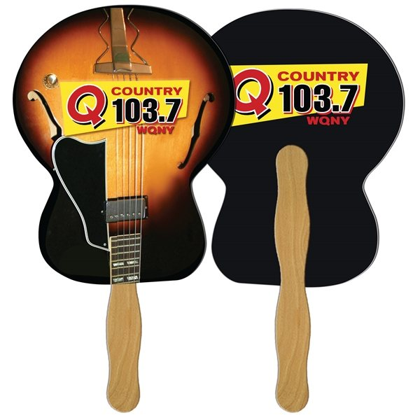 Promotional Guitar Digital Hand Fan (2 Sides)- Paper Products