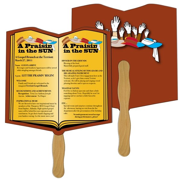 Promotional Open Book Digital Hand Fan (2 Sides)- Paper Products