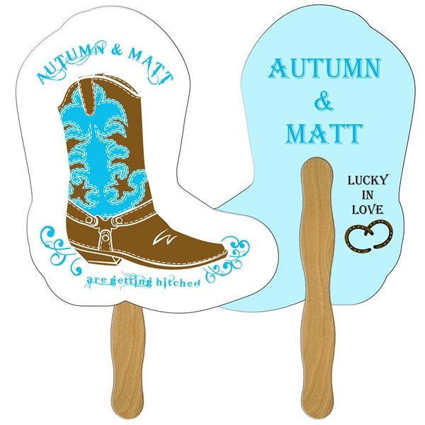 Promotional Boot Digital Hand Fan (2 Sides)- Paper Products