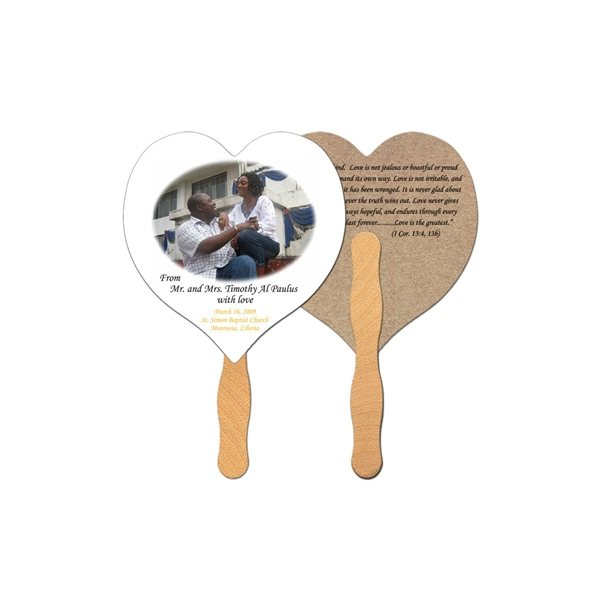 Promotional Heart Recycled Stock Fan - Paper Products