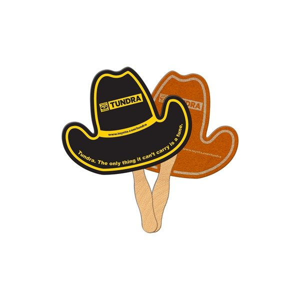 Promotional Cowboy Hat Recycled Stock Fan - Paper Products