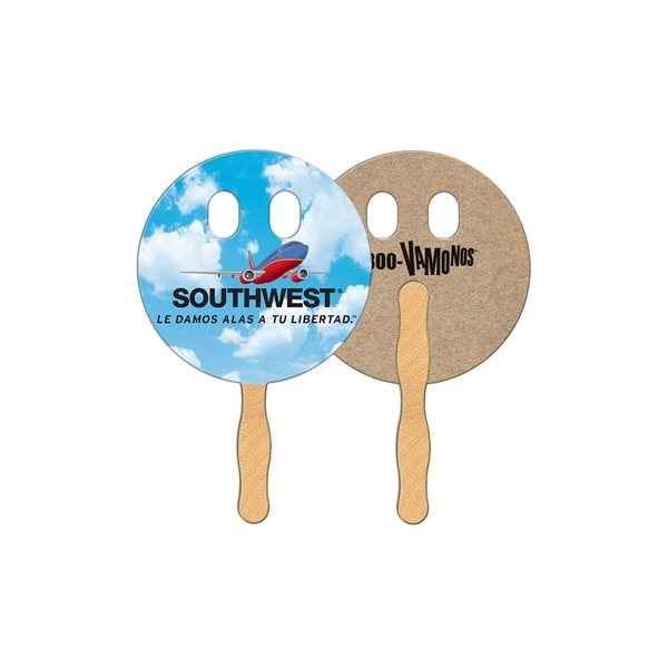 Promotional Circle w / Eyes Recycled Stock Fan - Paper Products