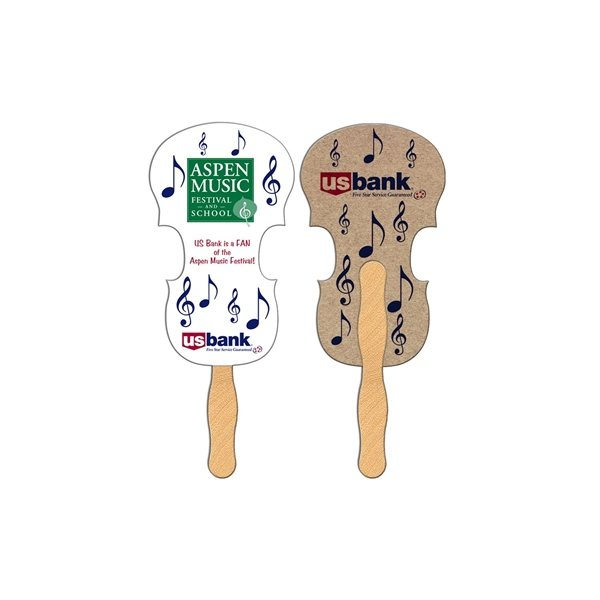 Promotional Violin Recycled Stock Fan - Paper Products