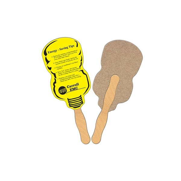 Promotional Neon Lightbulb Recycled Stock Fan - Paper Products