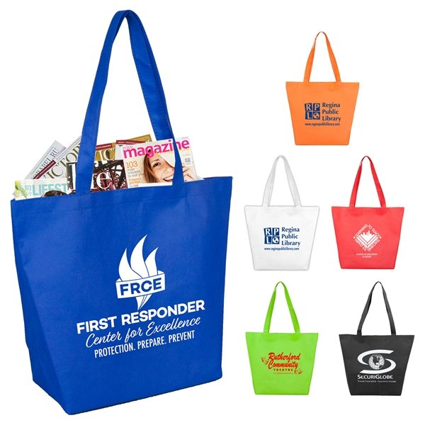 Promotional Camarillo Gusseted Shopping, Grocery and Tote Bag with Hook and loop Fastener Closure