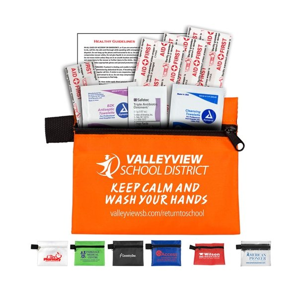 Promotional Take - A - Long Kit 2 8 Piece Healthy Living Pack Components inserted into Zipper Pouch