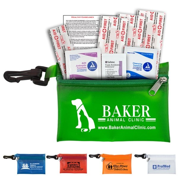 Promotional Parkway Plus 8 Piece Healthy Living Pack Components inserted into Translucent Zipper Pouch with Plastic Carabiner Attachment