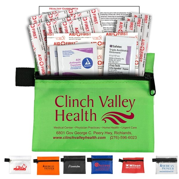 Promotional Riverside Plus 14 Piece First Aid Kit Components inserted into Zipper Pouch