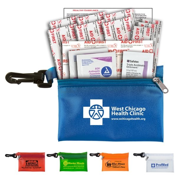 Promotional Troutdale Plus 14 Piece Healthy Living Pack Components inserted into Translucent Zipper Pouch with Plast
