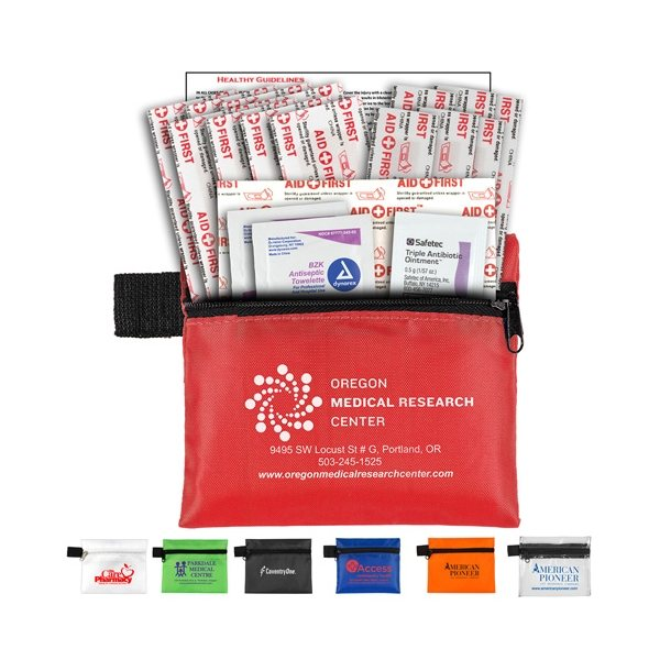 Promotional Doc 19 Piece Healthy Living Pack Components inserted into Zipper Pouch