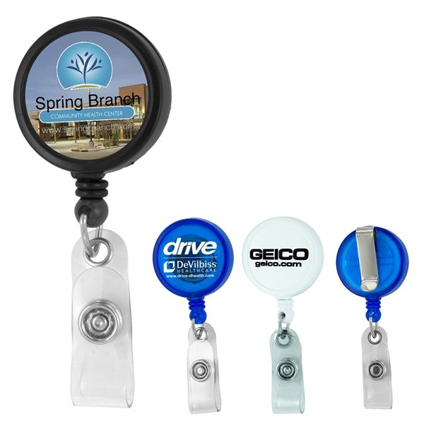Promotional 30 Cord Round Jumbo Imprint Retractable Badge Reel with Metal Slip Clip Backing and Badge Holder
