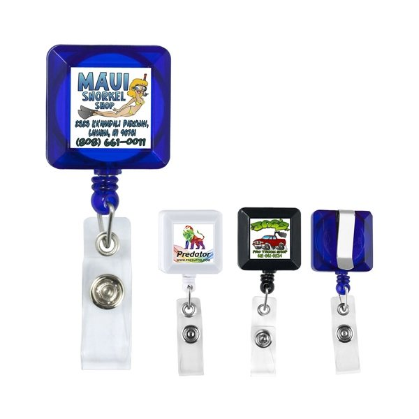 Promotional 30 Cord Square Retractable Badge Reel with Metal Slip Clip Backing