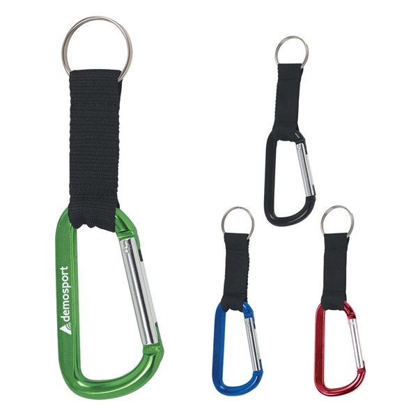 Promotional 8mm Carabiner With Black Strap