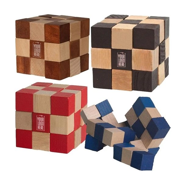 Promotional Eco - Friendly Wooden Elastic Cube Puzzle